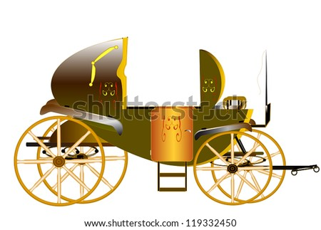 Historic carriage to tow light horse, used in Europe for two persons outside the coachman and his assistant who sat on the box. The space behind the seats for luggage - stock vector