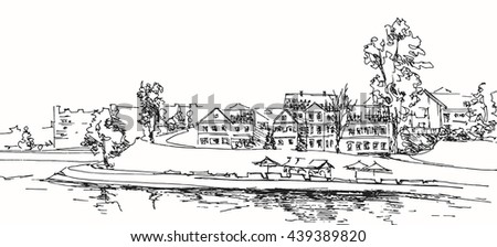 Historic center of the city of Minsk. Embankment. A sketch from a ruki.vektorny illustration.
