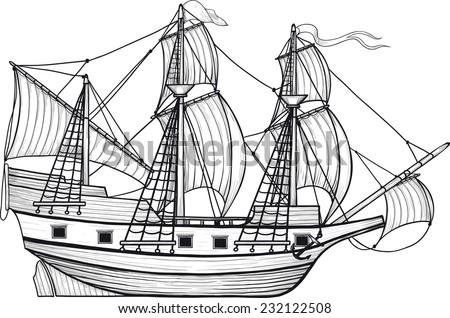 Historic sailing ship sails caravel with raised engraving drawn as - stock vector