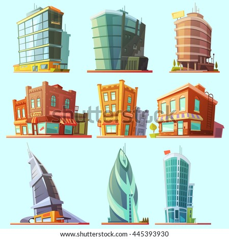 Historical and modern world most visited famous distinctive buildings icons set for tourists cartoon isolated vector illustration - stock vector