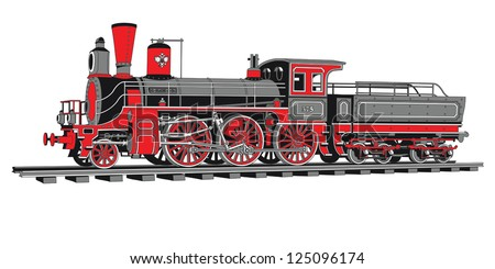 Historical 4-axle locomotive in 4 colors