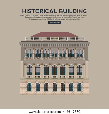 Historical building facade highly detailed and colored. Vector illustration. - stock vector