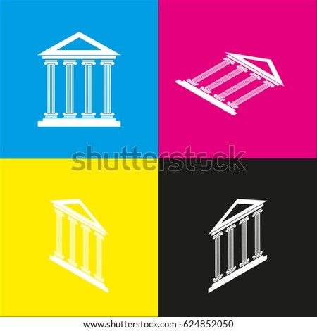 Historical building illustration. Vector. White icon with isometric projections on cyan, magenta, yellow and black backgrounds.