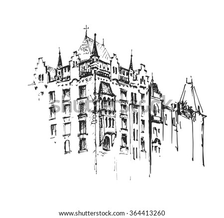 Old Town European Architecture Sketch Hand Drawing Artistic Picture Vector Illustration
