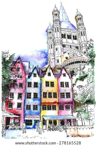Historical houses in Cologne, Germany. watercolor vector illustration - stock vector