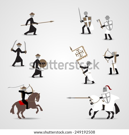 Historical soldiers. Crusaders and saracens. Eps10 - stock vector