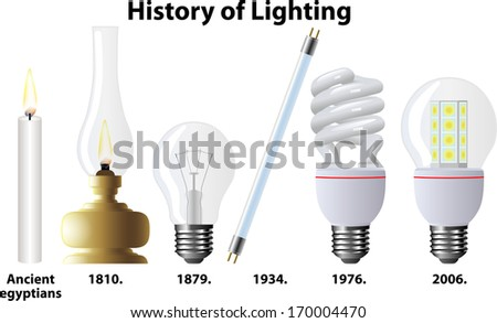History of Lighting - stock vector