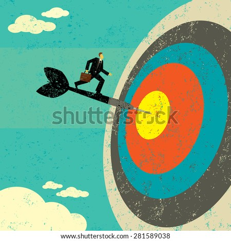 Hitting the Target Businessman on a dart hitting the bull's eye. The man, dart & target are on a separate labeled layer from the background. - stock vector