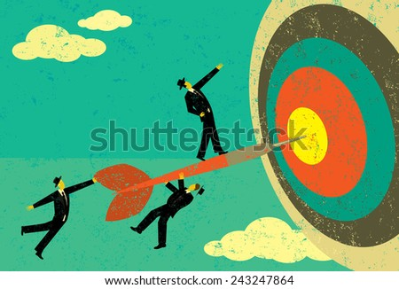 Hitting the Target Businessmen on a dart hitting the bull's eye. The men, dart & target are on a separate labeled layer from the background.  - stock vector