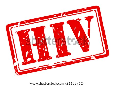 HIV red stamp text on white - stock vector