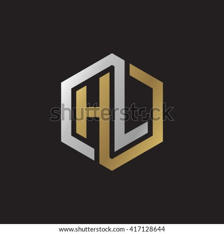 Stock Vector Hl Initial Letters Looping Linked Hexagon Elegant Logo Golden Silver Black Background Letter