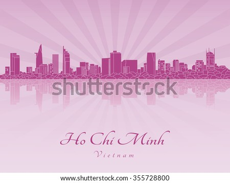 Ho Chi Minh skyline in purple radiant orchid in editable vector file - stock vector