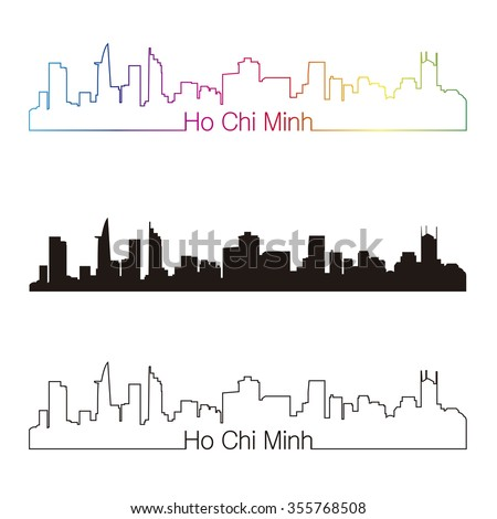Ho Chi Minh skyline linear style with rainbow in editable vector file