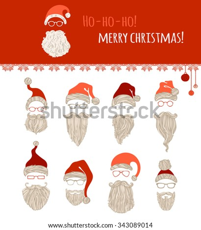 Ho-ho-ho! Merry Christmas! Set of various Santa hats, moustache, beards and eyeglasses isolated on white background. - stock vector