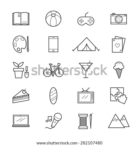 Hobbies and Activities Icons Line - stock vector