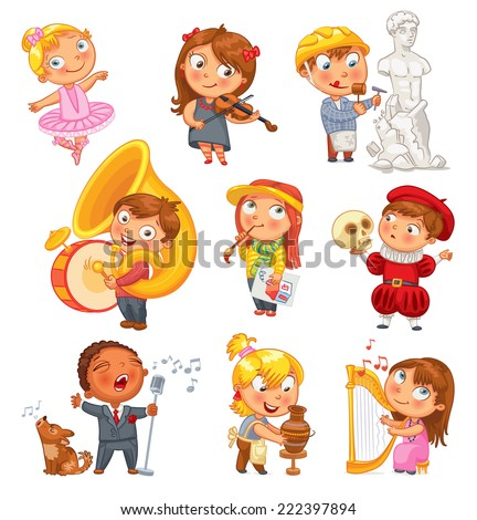 Hobbies and interests. Ballet studio, music school, theater workshop, school of fine arts, sculpture studio. Funny cartoon character. Vector illustration. Isolated on white background. Set - stock vector