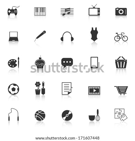 Hobby icons with reflect on white background, stock vector - stock vector