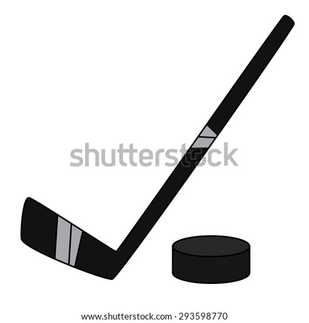 Hockey and Puck Illustration - stock vector