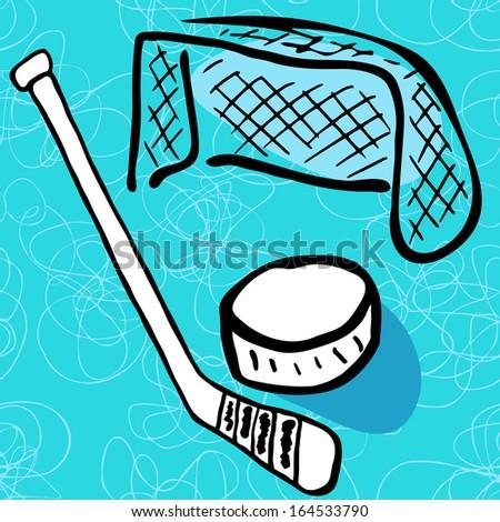 Hockey  doodle vector background. - stock vector