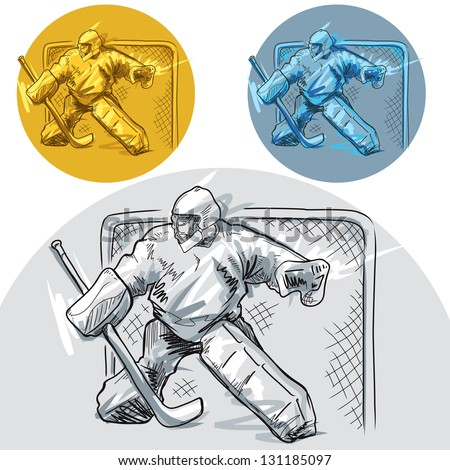 hockey goalie in 3 different versions