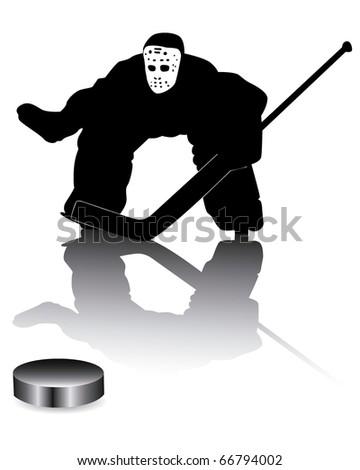 hockey goalie on a white background - stock vector
