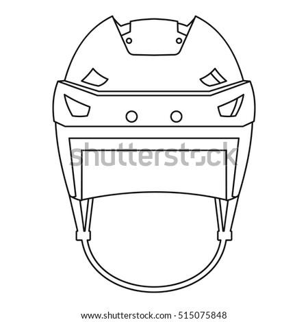 Hockey Helmet Icon Outline Illustration Hockey Stock