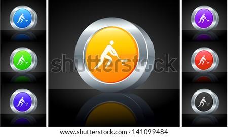 Hockey Icon on 3D Button with Metallic Rim Original Illustration  - stock vector