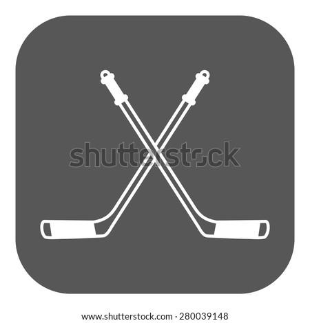 Hockey icon. Sport symbol. Flat Vector illustration Button - stock vector