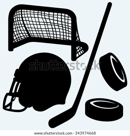 Hockey icon. stick, puck, hockey gates and helmet. Isolated on blue background. Vector silhouettes