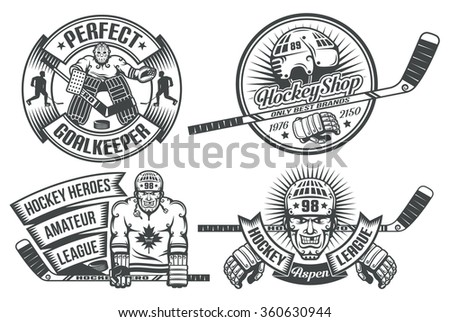 Hockey logos with the goalkeeper and players in vintage style. The text is grouped separately and can be replaced. - stock vector