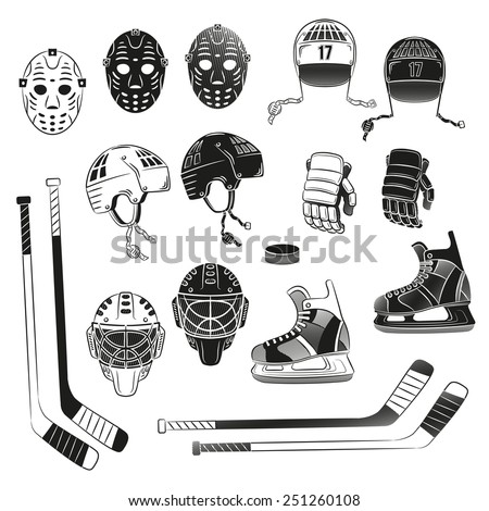 Hockey objects as silhouettes. Hockey helmet, goalie masks, gloves, stick, puck, skating - in monochrome stamp style . - stock vector