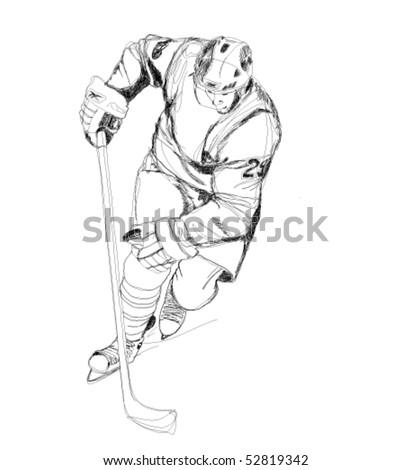Hockey player cartoon illustration - stock vector