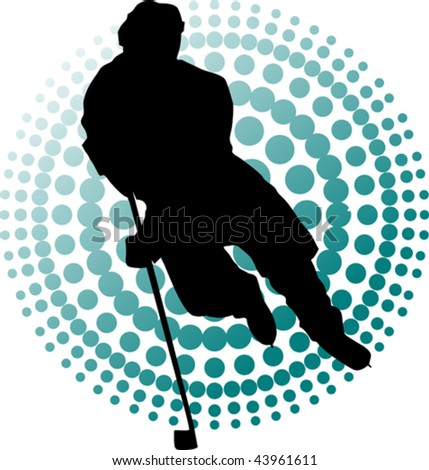 Hockey player makes a strong shot on goal rival; - stock vector