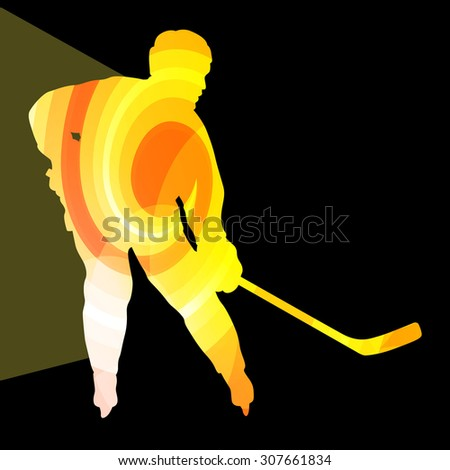 Hockey player man silhouette illustration vector background colorful concept made of transparent curved shapes - stock vector