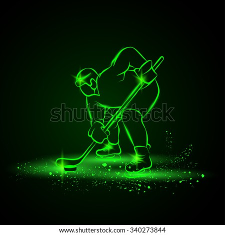 Hockey player ready to play. Neon style. - stock vector