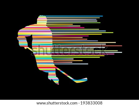 Hockey player silhouette vector background concept made of stripes - stock vector