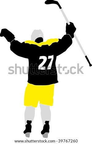 hockey player silhouette with racket - stock vector