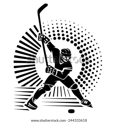 Hockey player. Vector illustration in the engraving style - stock vector