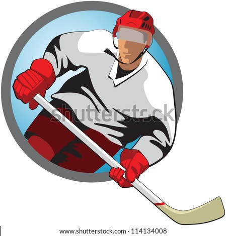 Hockey player with a stick in oval frame - stock vector