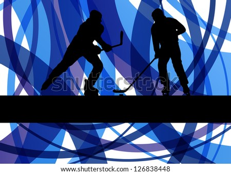 Hockey players on abstract ice field colorful lines illustration background vector - stock vector