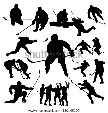 Hockey players silhouette - stock vector