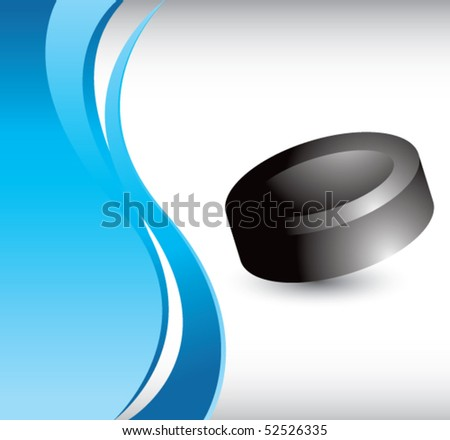 hockey puck vertical blue wave - stock vector