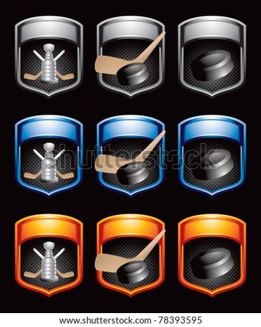 Hockey pucks, sticks, and trophies in multicolored banners - stock vector