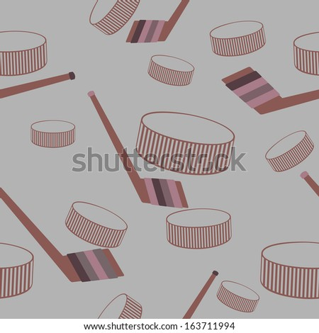 Hockey seamless vector background. - stock vector