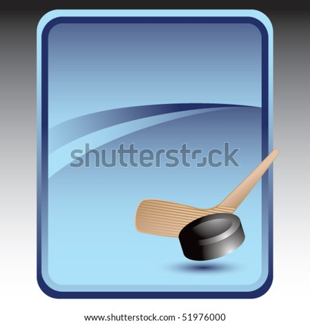 hockey stick and puck blue background - stock vector