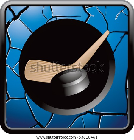 hockey stick and puck blue cracked web button - stock vector