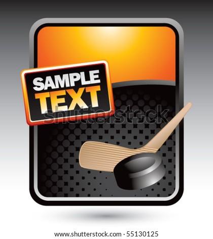 hockey stick and puck orange display - stock vector