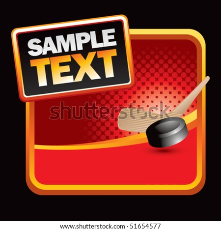 hockey stick and puck red halftone ad - stock vector