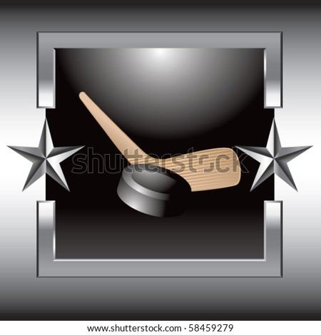 hockey stick and puck silver star frame - stock vector