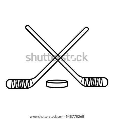 Hockey sticks with puck icon. Outline illustration of hockey sticks with puck vector icon for web